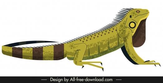 lizard reptile animal icon colored 3d sketch