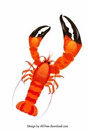 lobster icon huge claw sketch red black design