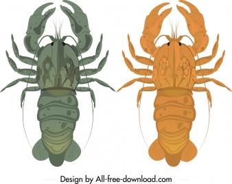 lobster icons dark orange blue design