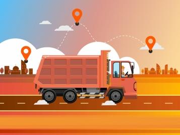 location background truck road icons cartoon design