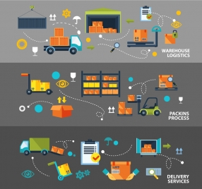 logistic concepts illustration with warehouse and delivery icons