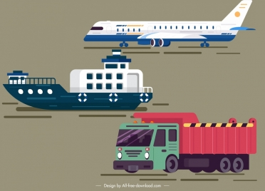 logistic design elements airplane ship truck icons