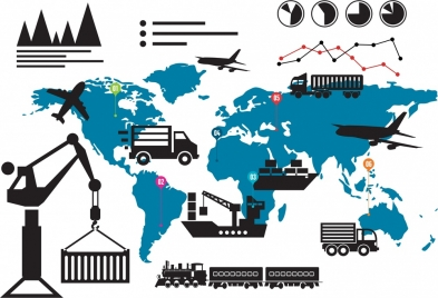 logistic design elements silhouettes style map and chart