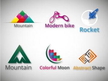 logo design elements in various abstract shapes