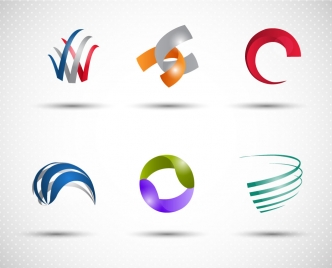 logo icons collection with 3d design