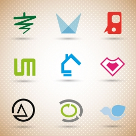 logo sets design with abstract illustration