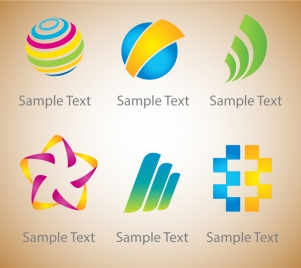 logo sets design with bright colors