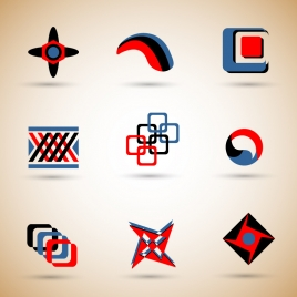 logo sets design with symmetric illustration