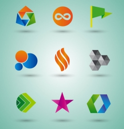 logo sets design with various shapes