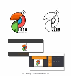 logo template abstract parrot emblem flat geometric design