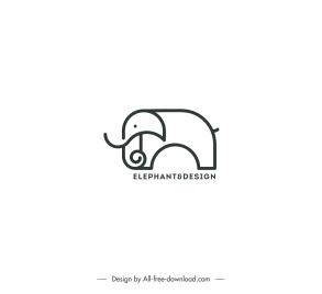 logo template elephant sketch black white handdrawn