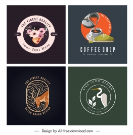 logo templates botany coffee reindeer stork sketch