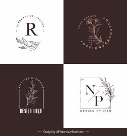 logo templates elegant handdrawn botany leaf sketch