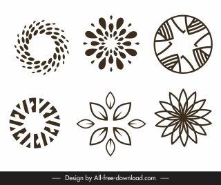 logo templates flat symmetric petal sketch