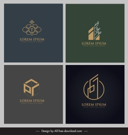 logo templates geometric flat 3d sketch