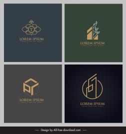 logo templates geometric flat 3d sketch