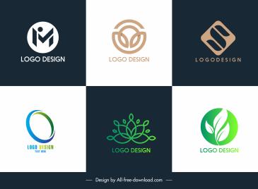 logo templates modern text leaf shapes sketch