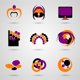 logo vector design elements with colorful shapes