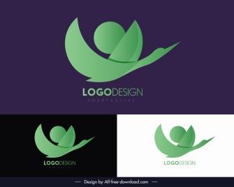 logotype template abstract bird shape green flat sketch