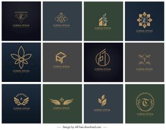 logotypes collection dark elegant flat 3d shapes