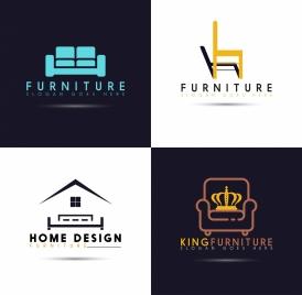 logotypes isolation furniture icons flat design