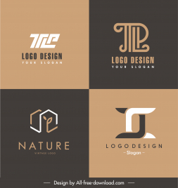 logotypes templates flat texts house shape sketch