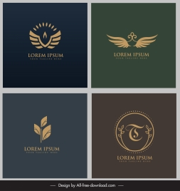 logotypes templates wings leaf sketch flat classic