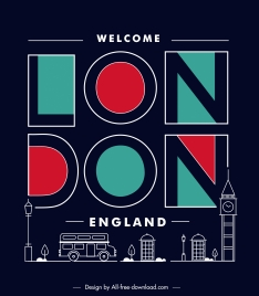 london advertising banner dark flat texts symbols sketch
