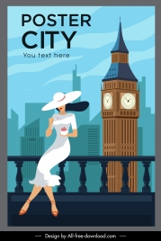 london landmark poster elegant lady tower cartoon sketch