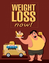 loss weight banner fat man fast food icons