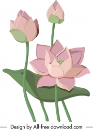 lotus flower painting colored classical design
