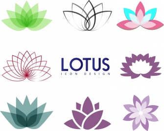 lotus icons collection various colored sketch