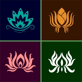 lotus icons collection various flat shapes isolation