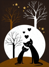 love background black cats hearts leafless trees icons