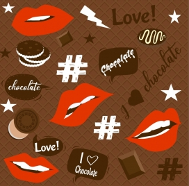 love background chocolate backdrop lips signs decoration