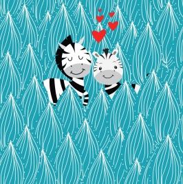 love background cute zebra icons hearts trees decor