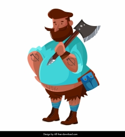 lumberjack icon colored cartoon character sketch
