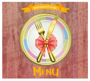 luxury restaurant menu design with golden knife and fork