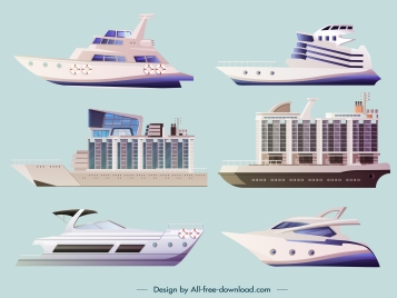 luxury yacht model icons colored modern sketch