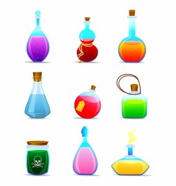 Magic potions magical tubes and bottles containers