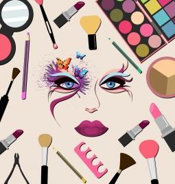 makeup accessories design elements multicolored flat design