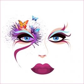 makeup face sketch colorful splashing watercolors