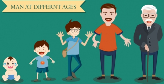 male ages icons various stages colored cartoon design