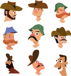 male avatar collection retro character colored cartoon
