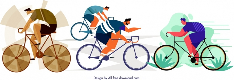 male cyclist icons cartoon characters sketch