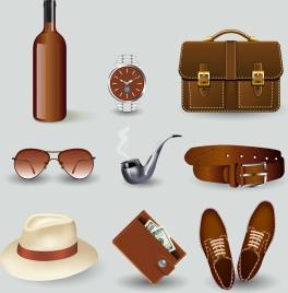 male fashion accessory icons 3d colored design