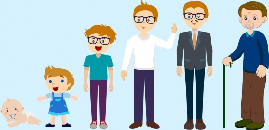 male growth icons young old sequence design
