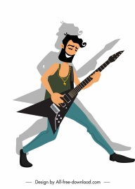 male guitarist icon colored cartoon character
