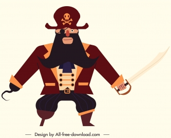 male pirate icon classic armed costume sketch