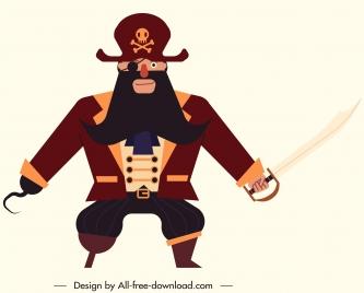 male pirate icon classic armed costume sketch